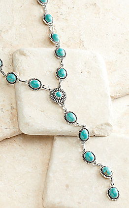 West & Co Antiqued Silver with Small Turquoise Pendants Y Necklace