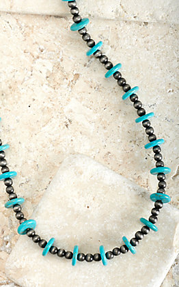 West & Co Turquoise Discs and Small Faux Navajo Pearls 32 Inch Necklace
