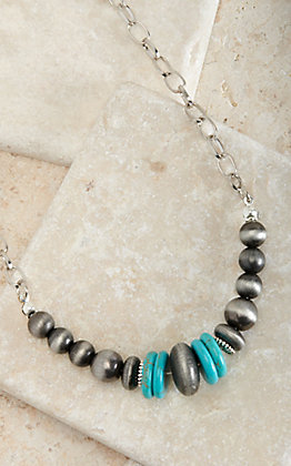 West & Co Faux Navajo Pearls with Turquoise Accents Chain Necklace
