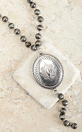 West & Co Faux Navajo Pearls with Large Oval Concho Y Necklace