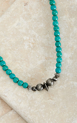 West & Co Turquoise Beads with Faux Navajo Pearl Accent Stretch Choker Necklace