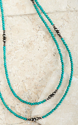 West & Co Turquoise with Faux Navajo Pearl Accent Long Layering Necklace