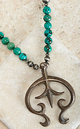 West & Co Dark Silver and Turquoise with Naja Pendant Necklace