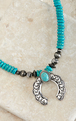 West & Co Turquoise with Burnished Silver Squash Charm Necklace