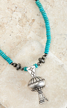 West & Co Turquoise and Silver Stamped Blossom Pendant Necklace