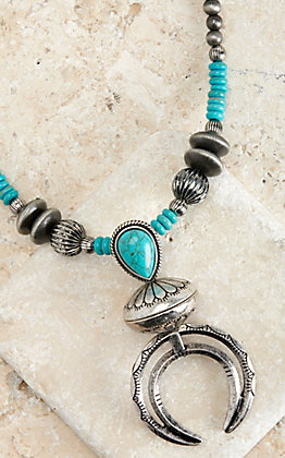 West & Co Turquoise and Silver Navajo Naja Pendant Necklace