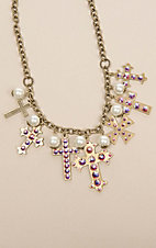 Pink Panache Brass Multi Cross Necklace
