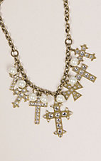 Pink Panache Brass Multi Cross Charm Necklace with Crystals and Pearls