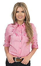 Wired Heart Women's Pink Splatter with Tribal Embroidery & Rhinestones Long to 3/4 Sleeve Western Shirt
