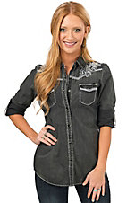 Wired Heart Women's Distressed Black with White Embroidery Long Sleeve Western Shirt