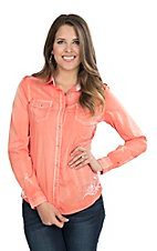 Wired Heart Women's Neon Orange with White Floral Embroidery and Lace Yoke Long Sleeve Western Shirt