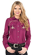Wired Heart Brushed Maroon with Tan Embroidery Long Sleeve Western Shirt