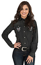 Wired Heart Women's Black Antique with Pink and White Embroidery Long Sleeve Western Snap Shirt