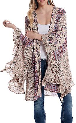 Nostalgia Women's Multi Print Kimono