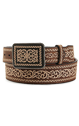 Nocona Men's Brown Embroidered Buckle and Belt