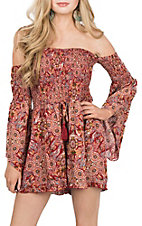 Umgee Women's Red Feather Print Off the Shoulder Romper