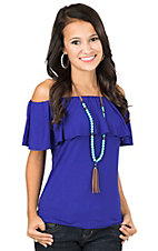 Renee C. Women's Royal Blue with Ruffled Top Cap Sleeve Fashion Top