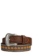 Nocona Mens Tan Embossed with Beaded Inlay Western Belt N2410408