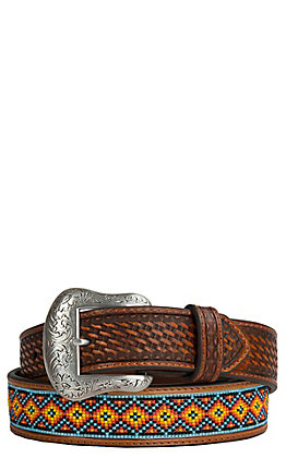 Nocona Men's Tan Embossed with Beaded Inlay Western Belt