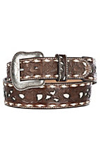 Nocona Men's Brown Genuine Leather Floral w/ White Inlay & Lace Western Belt