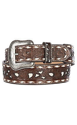 Nocona Men's Brown Genuine Leather Floral with White Inlay & Lace Western Belt
