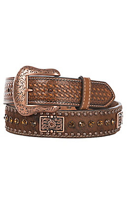 Nocona Tan Leather Hair Inlay with Rectangle Conchos Belt