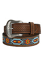 Nocona Mens Brown Embossed with Beaded Inlay Western Belt N2412808