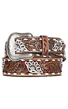 Nocona Men's Brown Genuine Leather Floral w/ Red Painted Inlay Western Belt
