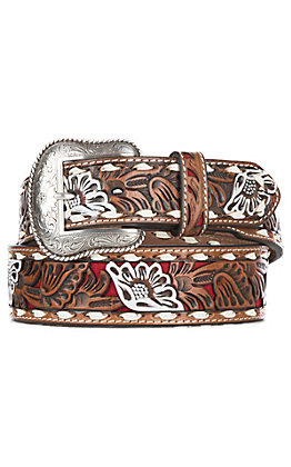 Nocona Men's Brown Genuine Leather Floral with Red Painted Inlay Western Belt