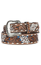 Nocona Men's Tan Genuine Leather Floral w/ Blue Painted Inlay Western Belt