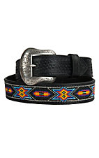 Nocona Mens Black Embossed with Beaded Inlay Western Belt N2414001