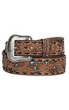 Nocona Men's Tan and Turquoise Inlay Floral Western Belt
