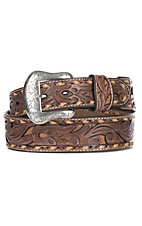 Nocona Men's Brown Genuine Leather Floral w/ Tan Inlay & Lace Western Belt