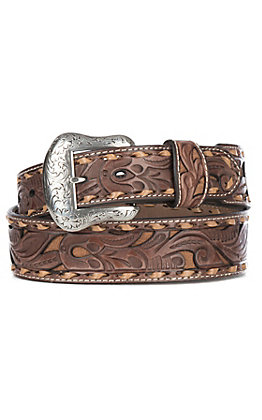 Nocona Men's Brown Genuine Leather Floral with Tan Inlay & Lace Western Belt