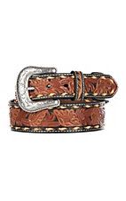 Nocona Men's Brown Genuine Leather Black and Tan Floral Western Belt