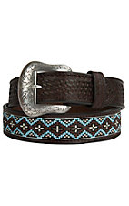 Nocona Mens Chocolate Embossed with Beaded Inlay Western Belt  N2419402
