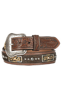 Nocona Brown Leather Hair Inlay with Rectangle Conchos Belt