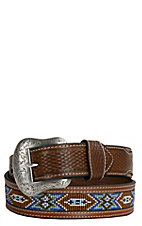 Nocona Mens Brown Embossed with Beaded Inlay Western Belt N2484408