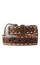 Nocona Men's Light Tan Genuine Leather Floral w/ Blue Inlay Western Belt