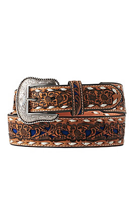 Nocona Men's Light Tan Genuine Leather Floral with Blue Inlay Western Belt