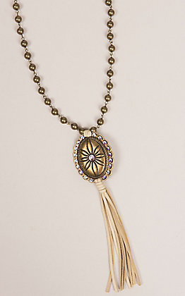 Pink Panache Bronze Beads with Gold Concho and Leather Tassel Necklace