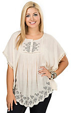 Nostalgia Women's Sand with Navy Embroidery Flutter Sleeve Top