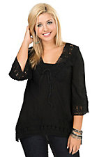 Angie Women's Black with Floral Crochet Trim 3/4 Sleeve Tunic