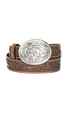 Nocona Women's Brown Embossed Buckle Belt