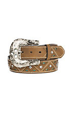 Nocona Women's Brown Inlay with Turquoise and Studs Buckle Belt
