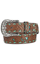 Nocona Women's Brown Embossed with Turquoise Inlay Belt