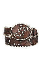 Nocona Women's Brown Embossed Rosette Belt