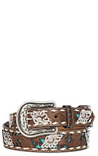 Nocona Women's Brown Genuine Leather Floral with Turquoise Inlay & Buckstitch Western Belt