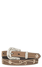 Nocona Women's Distressed Brown with Embroidered Scrolling Flowers 1
