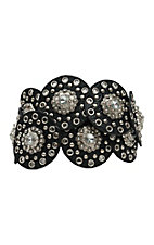 Nocona Women's Black Disc Link with Crystal Conchos Waist Belt